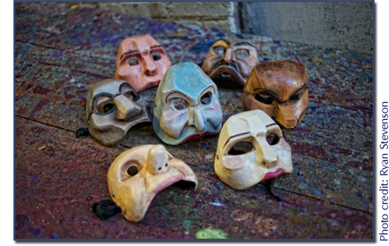group picture of masks